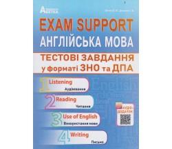 Exam Support Англійська мова Тестові завдання у форматі ЗНО (ДПА) авт. Євчук, Доценко вид. Абетка
